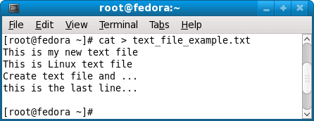 create text file on linux using cat command