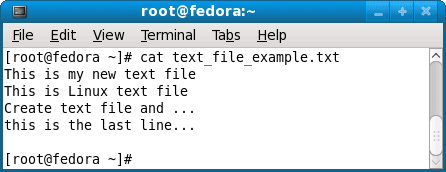 view text file on linux using cat command