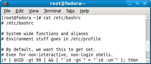 View fedora 9 /etc/bashrc configuration file