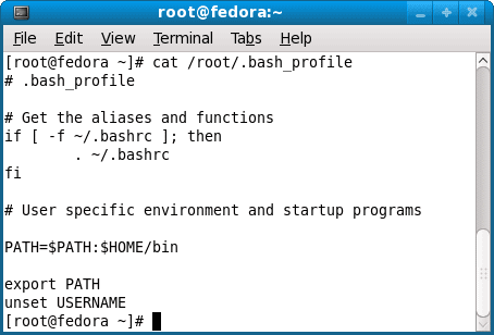 contents of .bash profile under root home directory