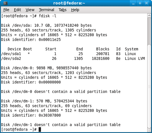 Display Linux Fedora Partition Table