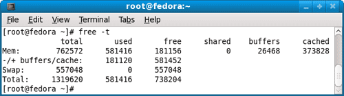Total memory available on Linux Fedora system