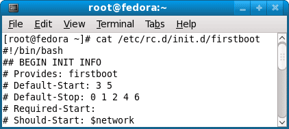 View firstboot program script using cat command