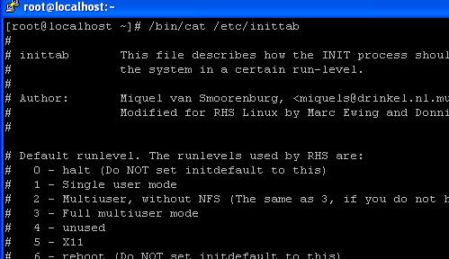 Linux Fedora 8 inittab configuration file.