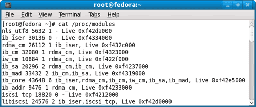 Display the contents of loaded kernel modules in /proc/modules using Linux cat command