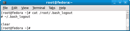 using cat command to view .bash_logout configuration file