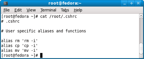 View Linux Fedora 9 cshrc configuration file using cat command