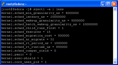 Show kernel parameters list on Linux Fedora
