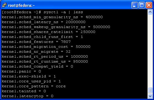 Sysctl command to view kernel parameters at runtime on Linux Fedora 10