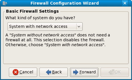 fedora basic firewall setting