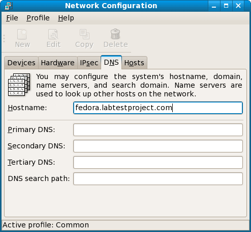 network configuration dns tab