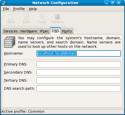 network configuration hostname