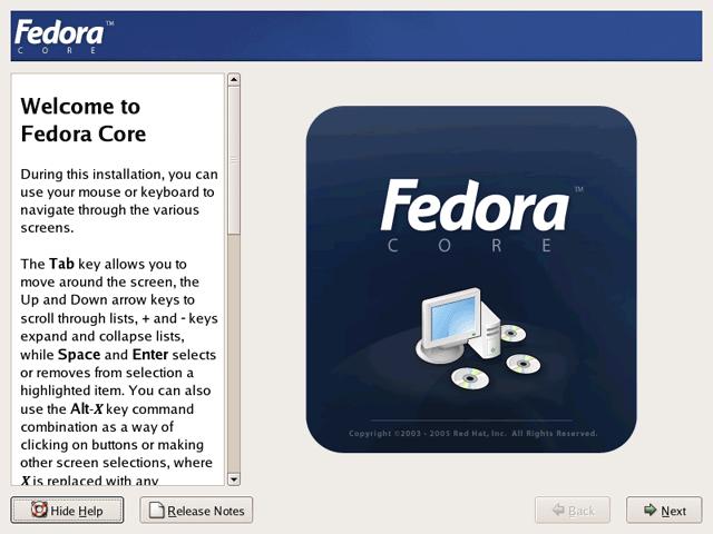 Running Anaconda the Graphical Fedora Core 4 System