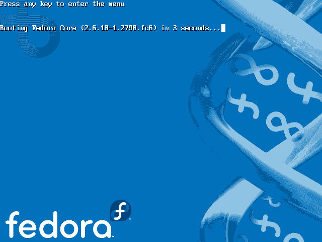 Fedora core 6 grub screen