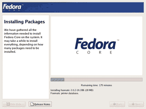 Install Fedora Core packages