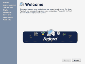 Fedora Core 4 Welcome screenshot