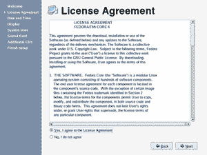 Fedora Core 4 License Agreement screenshot
