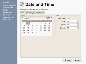 Fedora Core 4Date and Time screenshot