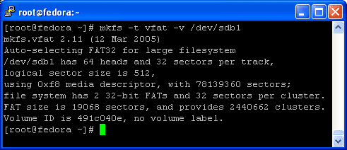 Formatting the external USB hard disk to vfat filesystem.