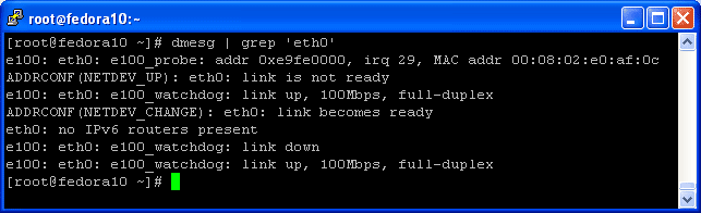 Check Ethernet NIC Driver on Linux Fedora using dmesg