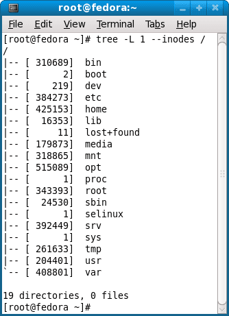 Display directory tree including their inode
