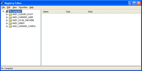 Windows XP Registry Editor