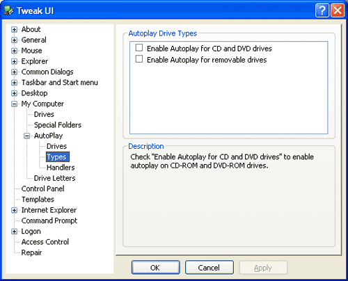 Tweak UI Autoplay Types cd dvd removable