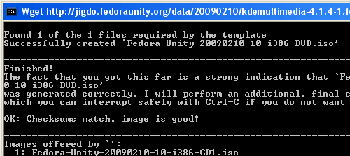 Downloading process Fedora 10 is complete ISO Image created and the ISO image checksum is good.