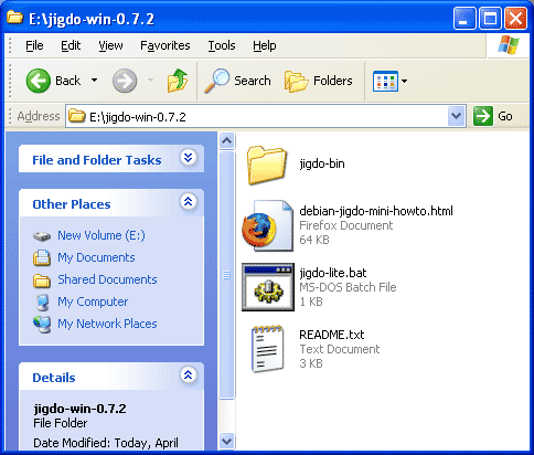 Extract jigdo for Windows software, jigdo-win-0.7.2.zip to folder.  Make sure that you have empty space on hard disk to fit the Linux Fedora 10 ReSpin ISO image (approximately about 4Gig).