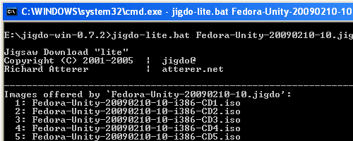 Execute jidgo program to download Fedora Unity Fedora 10.