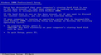 Windows 2000 Professional screenshot: Setup determine hard disk
