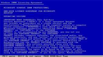 Windows 2000 Professional screenshot: Licensing agreement