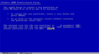 Windows 2000 Professional screenshot: Setup create partition