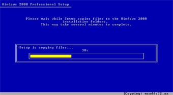 Windows 2000 Professional screenshot: Setup copy windows 2000 files