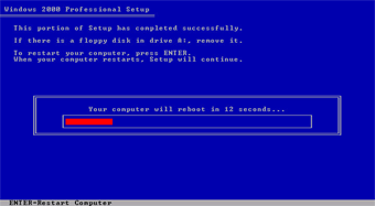 Windows 2000 Professional screenshot: Portion of setup complete