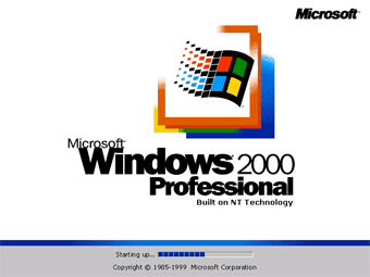 Windows 2000 Professional screenshot: First Windows 2000 screen flash