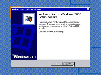 Windows 2000 Professional screenshot: Windows 2000 setup wizard