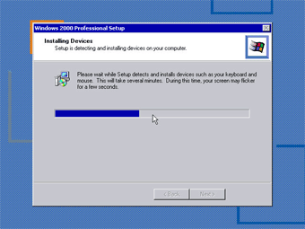 Windows 2000 Professional screenshot: Windowss 2000 installing device