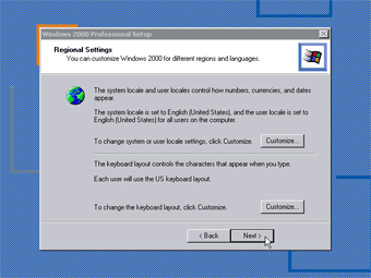 Windows 2000 Professional screenshot: reginol setting