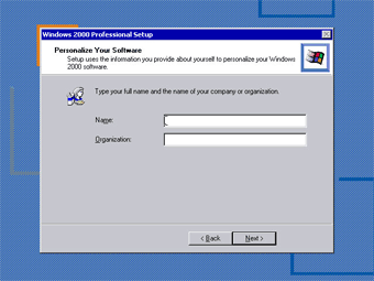 Windows 2000 Professional screenshot: Personalize software