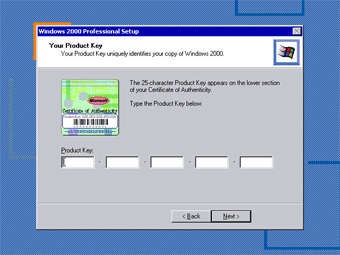 Windows 2000 Professional screenshot: Windows 2000 product key