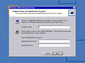 Windows 2000 Professional screenshot: Computer name and administrator password
