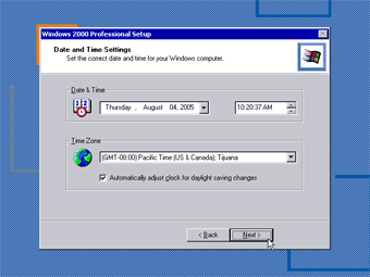 Windows 2000 Professional screenshot: Date and Time Setting