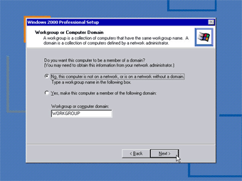 Windows 2000 Professional screenshot: Workgroup or Domain