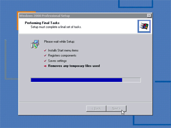 Windows 2000 Professional screenshot: Performing final tasks