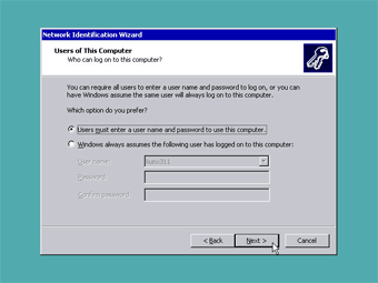 Windows 2000 Professional screenshot: Users of this computer