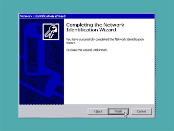 Windows 2000 Professional screenshot: Completing network identification wizard
