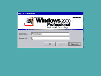 Windows 2000 Professional screenshot: Log on to Windows 2000