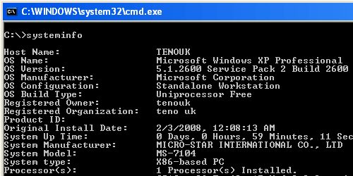 Windows XP systeminfo command