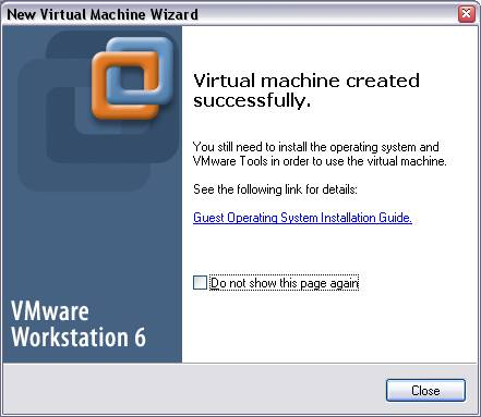 Succesfully Created Virtual Machine